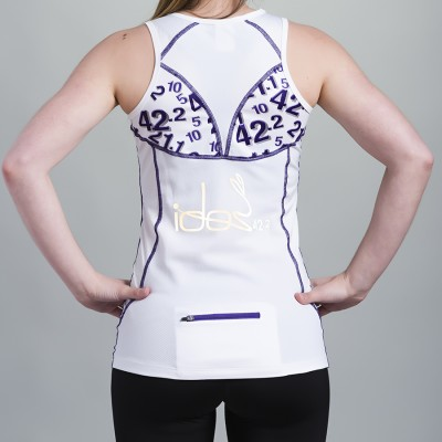 Women's Top 42.2 Stamina White with purple topstitching