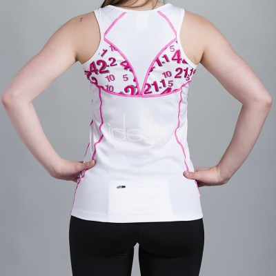 Women's Top 42.2 Stamina White with pink topstitching