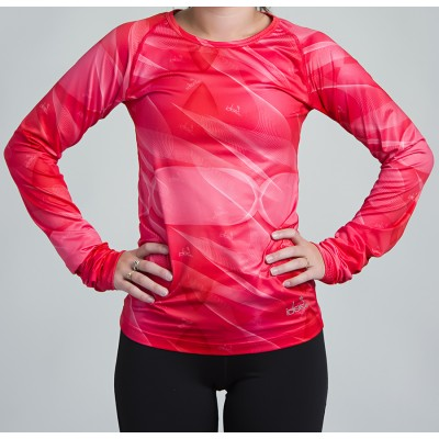 Women's Long Sleeve Running Shirt (Coral-Pink)