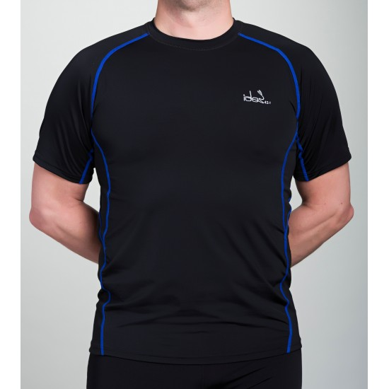 Men's Running T-Shirt 42.2 Stamina Black Jersey with Blue Topstitching