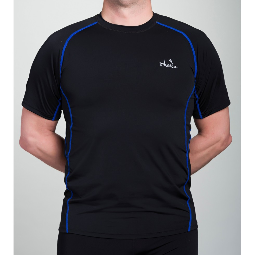 f7c992a7307 Men's Running T-Shirt 42.2 Stamina Black Jersey with Blue Topstitching ...