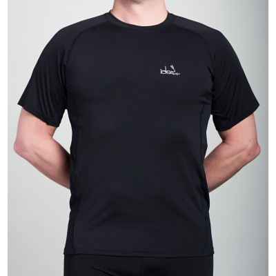 Men's Running T-Shirt 42.2 Stamina  Black Jersey with Black Topstitching