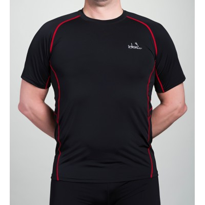 Men's Running T-Shirt 42.2 Stamina Black Jersey with Red Topstitching